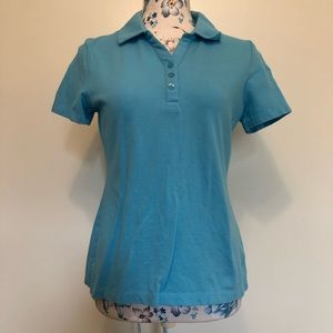 Talbots Womens light blue polo size medium petite